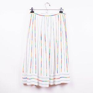 Vintage 80s rainbow striped pleated midi skirt